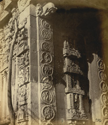 Close view of scroll ornamentation on the entrance gopura of the Narasimha Temple, Ahobilam